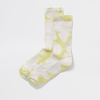 Lime tie dye tube socks
