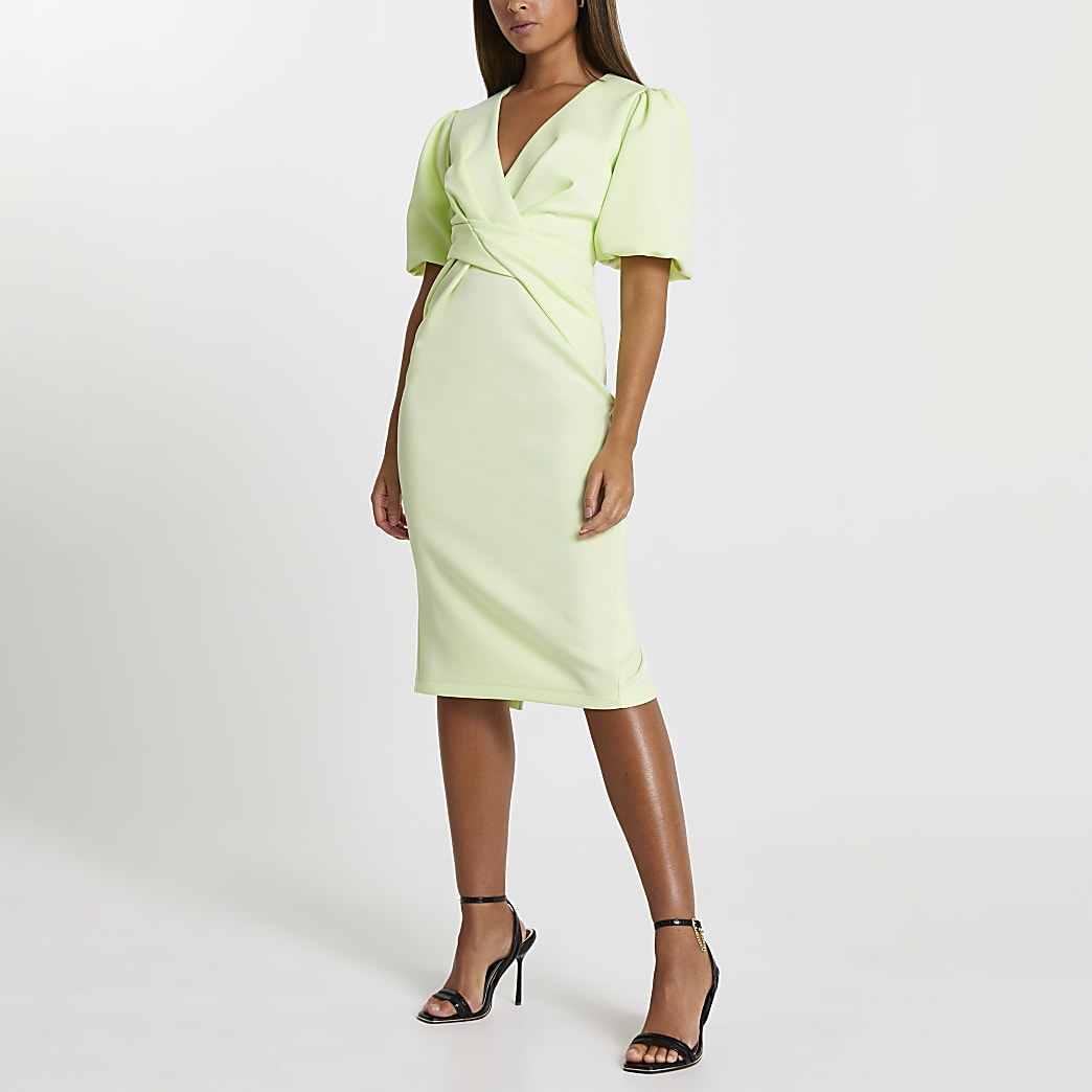Lime twist front bodycon midi dress