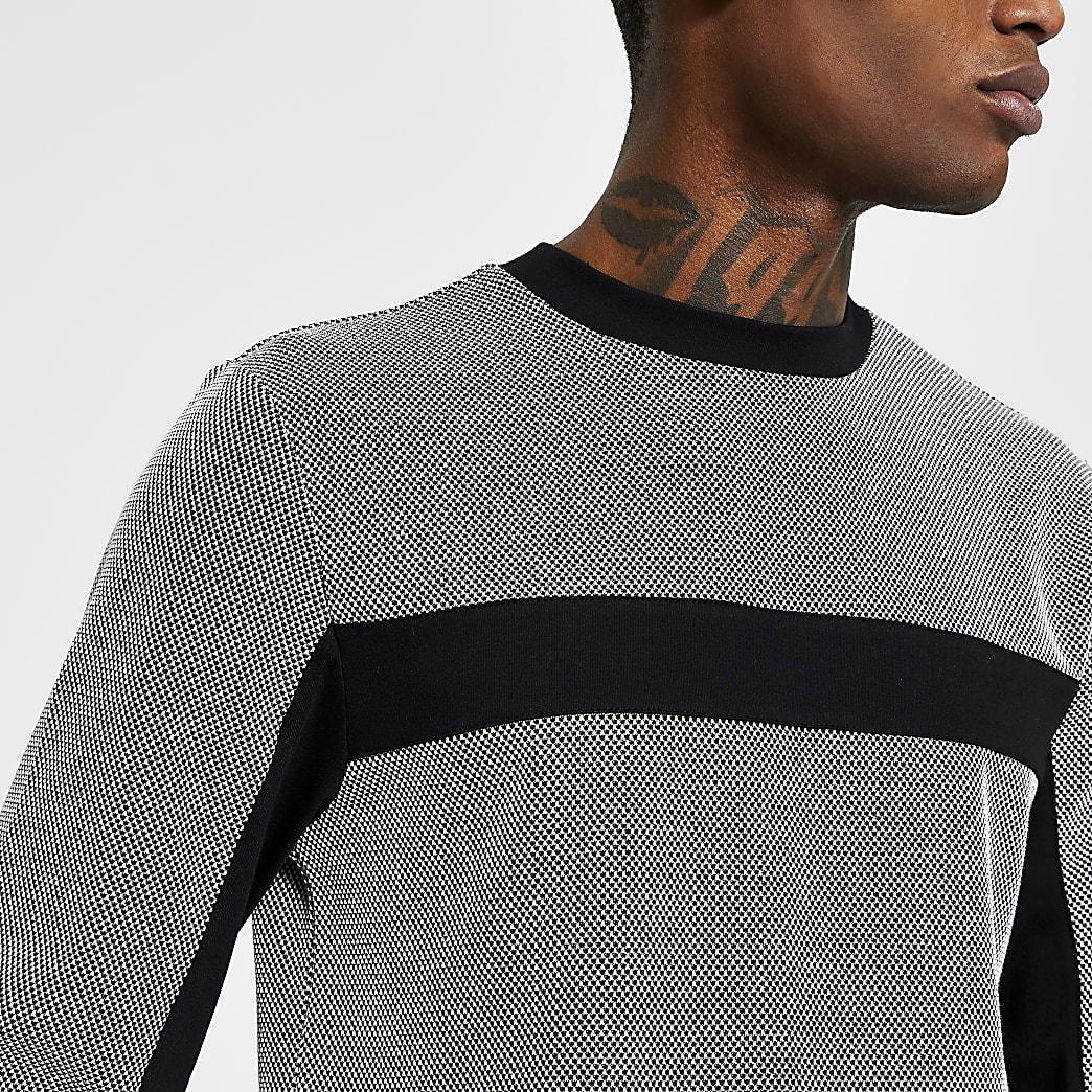 Maison black blocked slim long sleeve T-shirt