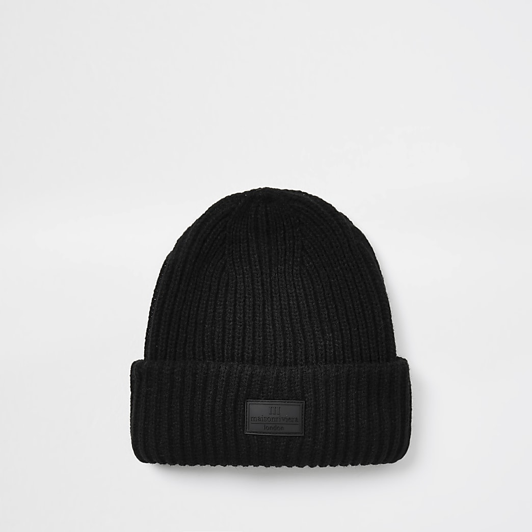 Maison black knitted fisherman beanie hat