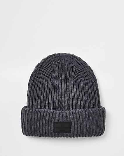 Maison dark grey knitted fisherman beanie hat