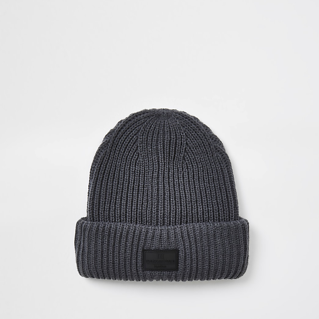 Maison dark grey knitted fisherman beanie hat