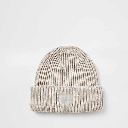 Maison ecru knitted fisherman beanie hat