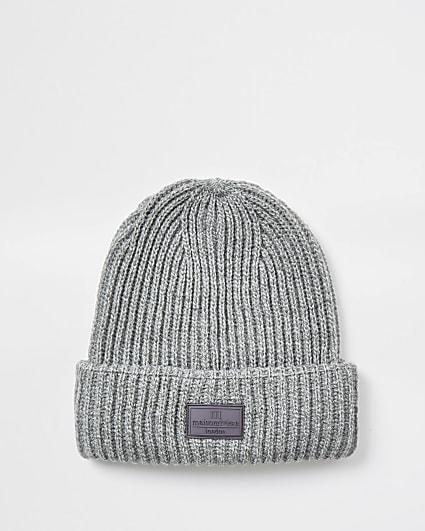 Maison grey knitted fisherman beanie hat
