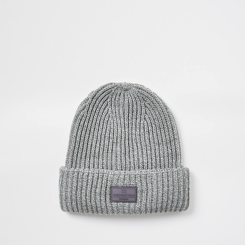Maison grey knitted fisherman beanie hat