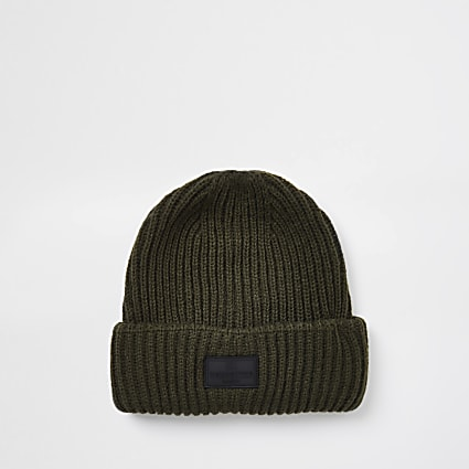 Maison khaki knitted fisherman beanie hat
