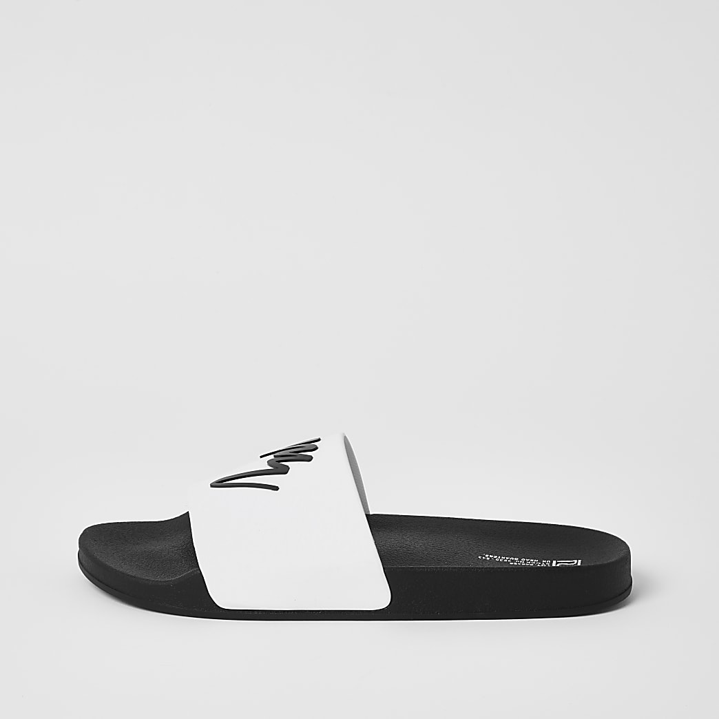 Maison London white embossed sliders