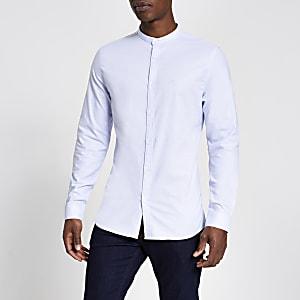 Maison Riveria – Blaues Slim Fit Hemd mit Grandad-Kragen