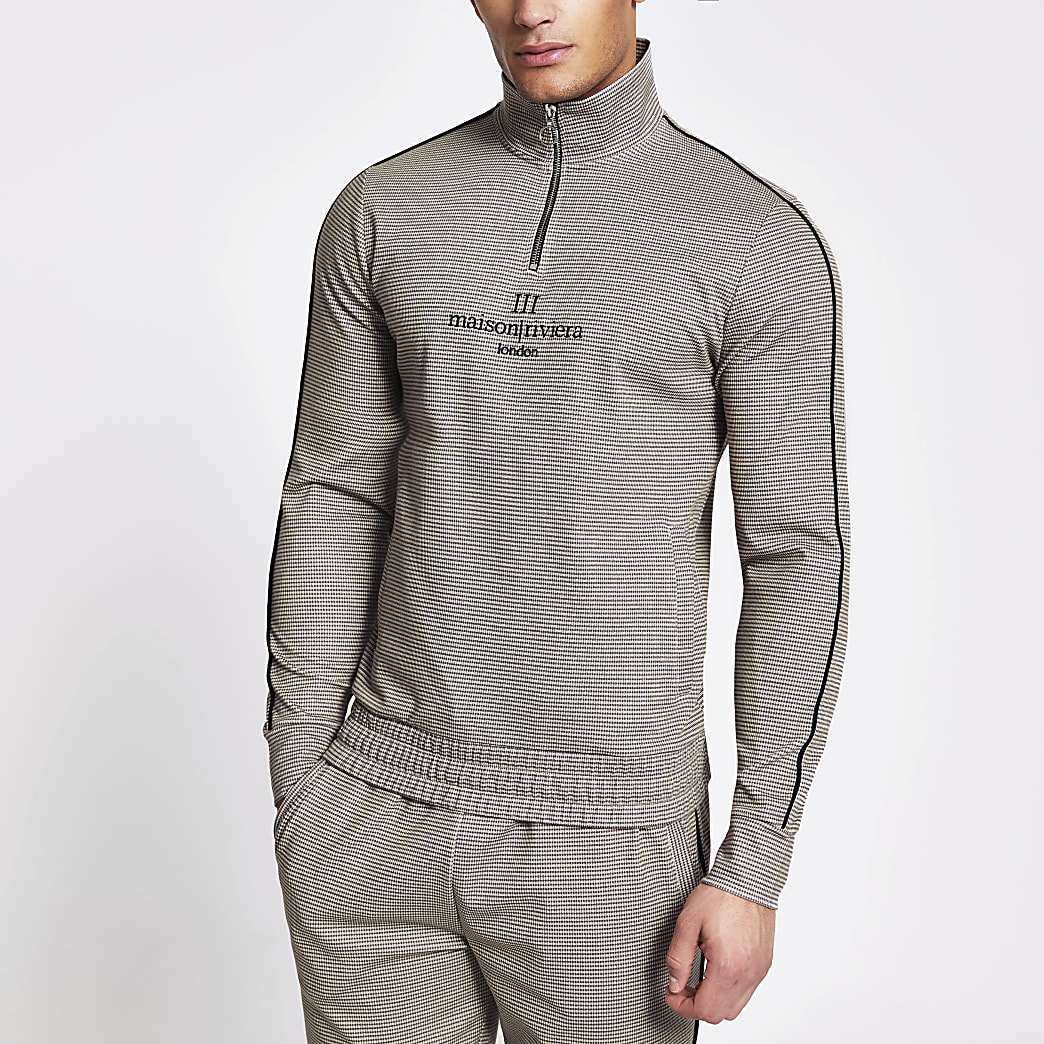 Maison Riveria half zip slim fit sweatshirt