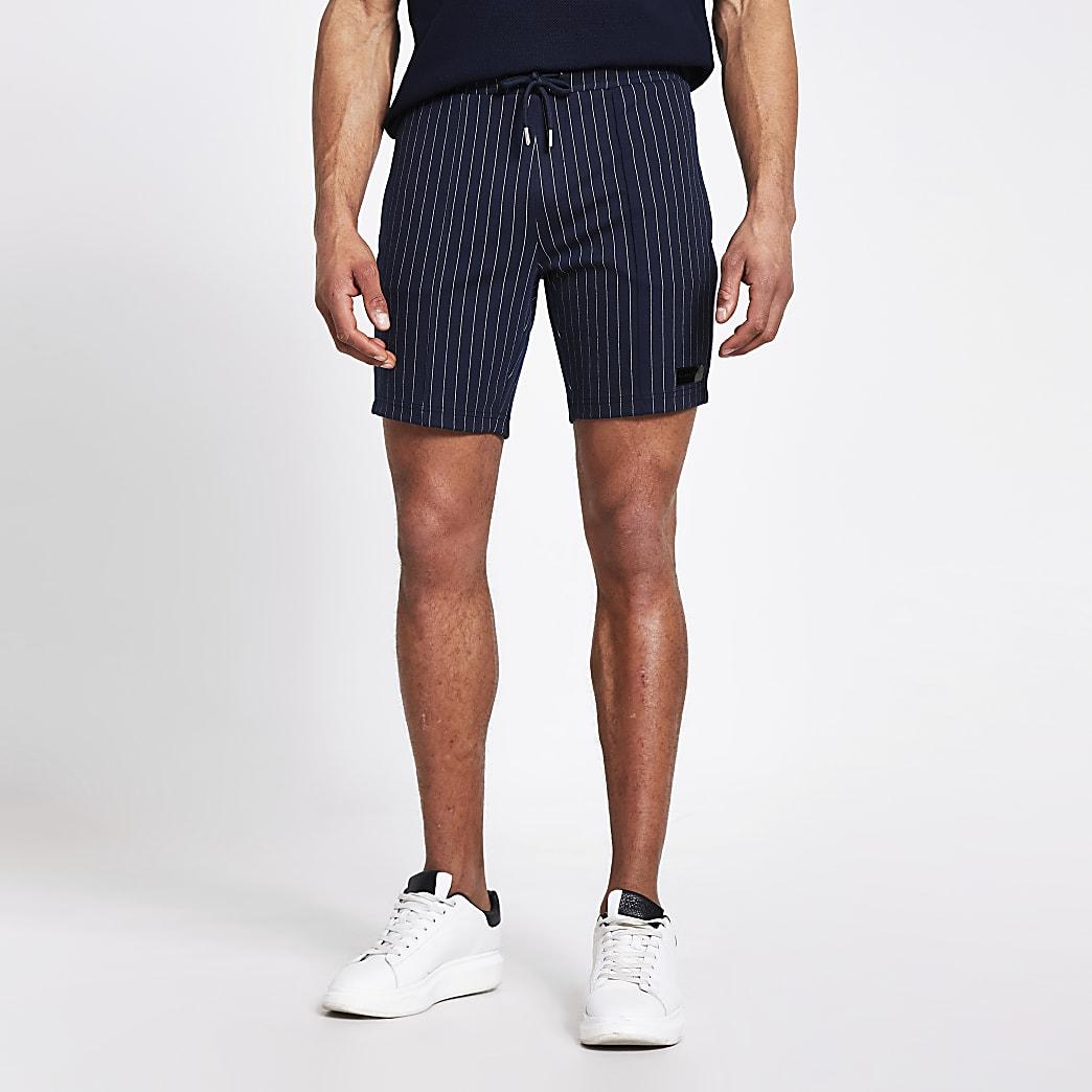 Maison Riverira navy pinstripe skinny shorts
