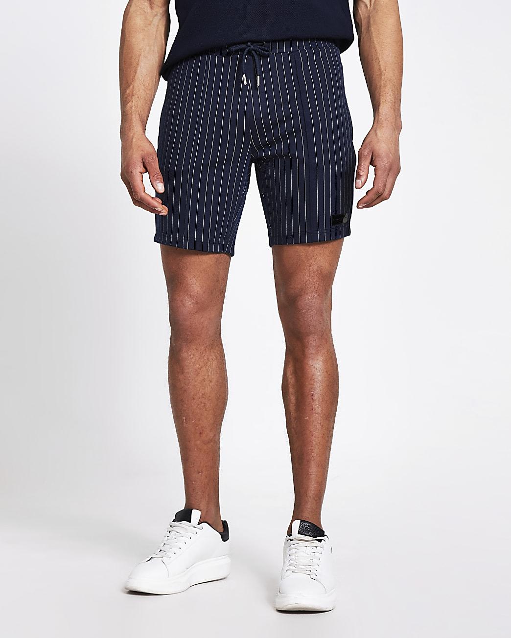 Maison Riverira navy stripe skinny fit shorts