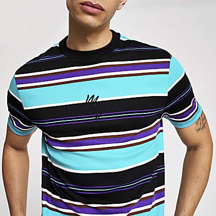 Maison Riviera aqua stripe slim fit T-shirt