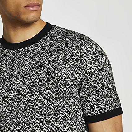 Maison Riviera black aztec t-shirt