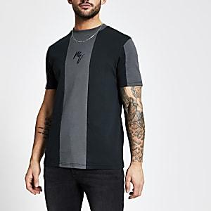 Maison Riviera – Schwarzes Slim Fit T-Shirt in Blockfarben