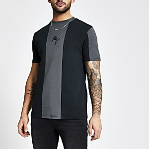 Maison Riviera - Zwart slim-fit T-shirt met kleurvlakken