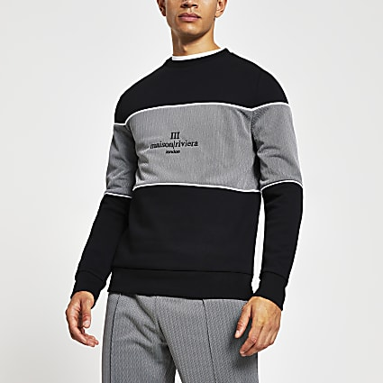Maison Riviera black blocked slim sweatshirt