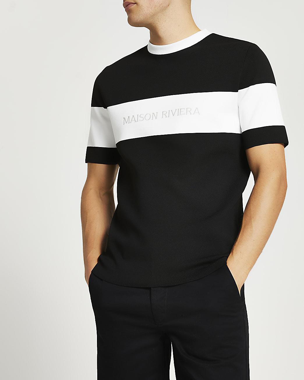 Maison Riviera black colour block t-shirt
