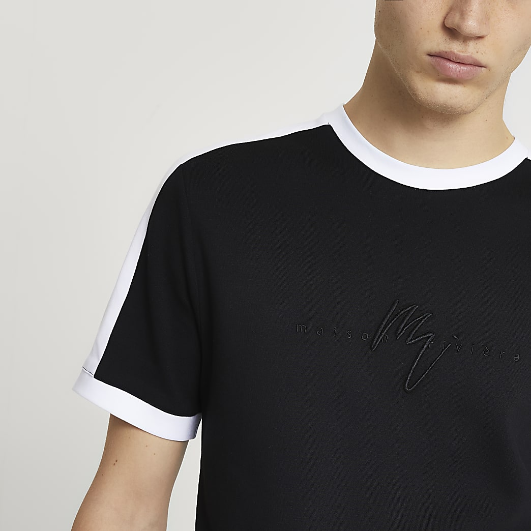 Maison Riviera black colour block t-shirt