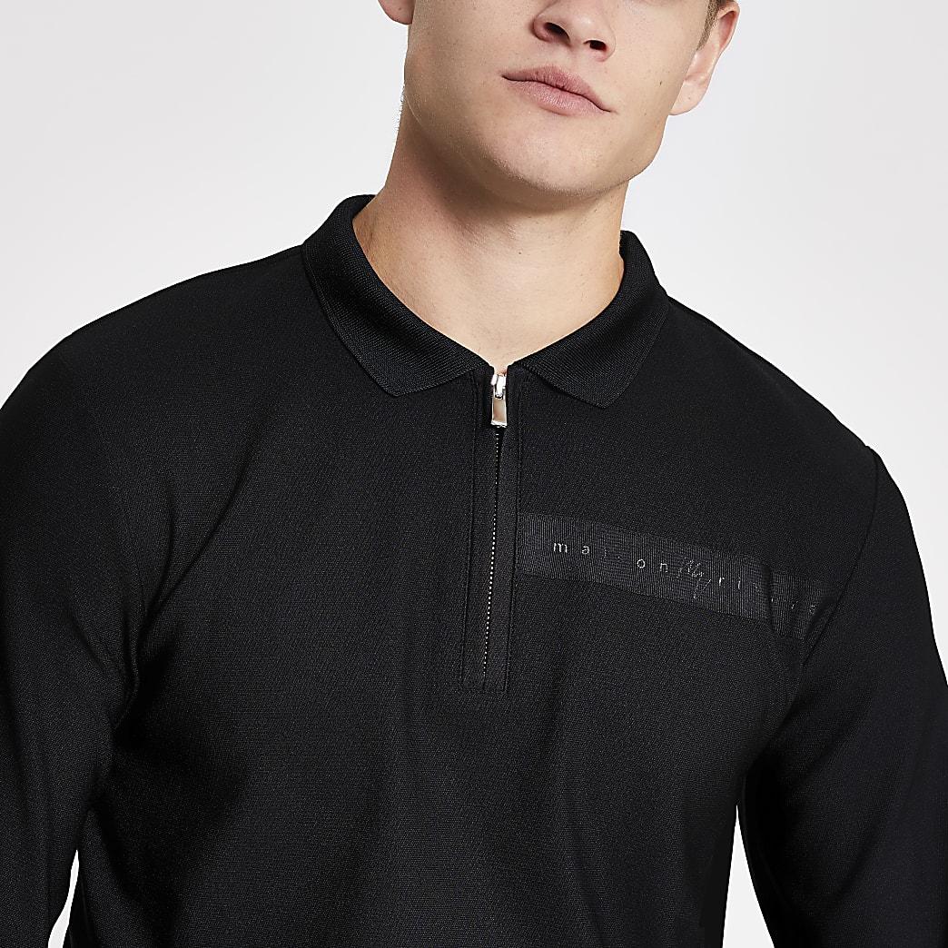 MaisonRiviera- Zwart slim-fit poloshirt met halve rits