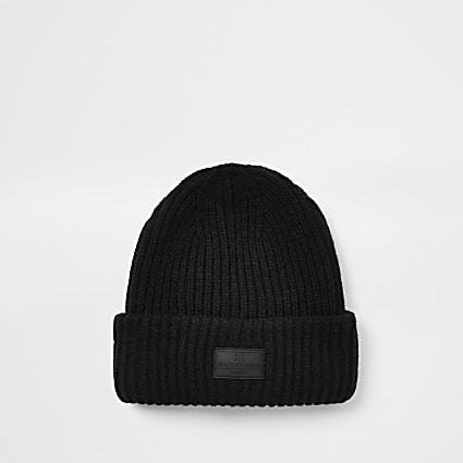 Maison Riviera black knitted beanie hat