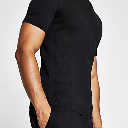 Maison Riviera black knitted muscle T-shirt