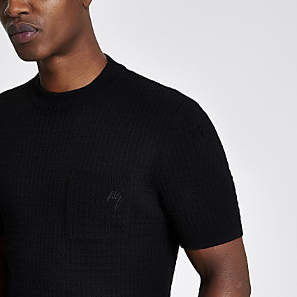 Maison Riviera black knitted pocket T-shirt