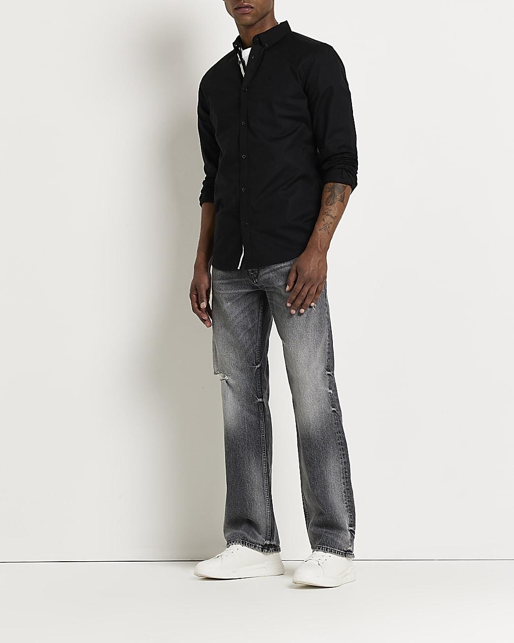 Maison Riviera black long sleeve Oxford shirt