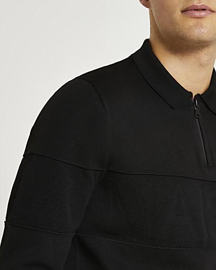 Maison Riviera black long sleeve polo shirt
