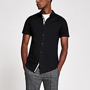Maison Riviera - Zwart muscle-fit Oxford overhemd