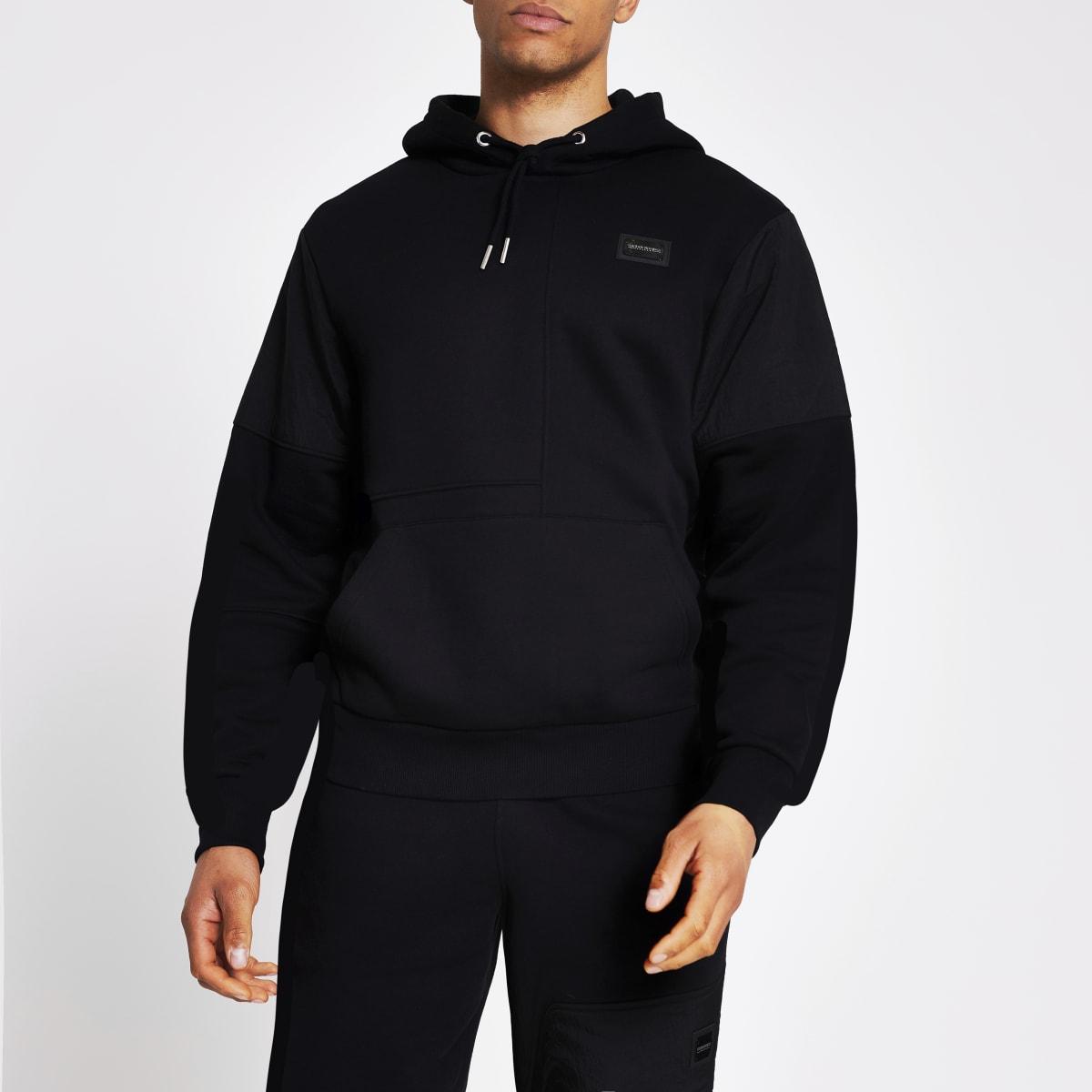 Maison Riviera black nylon block hoodie