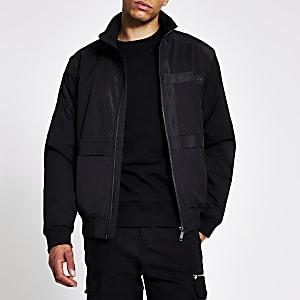 Maison Riviera – Schwarze Trainingsjacke aus Ripstop-Gewebe