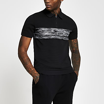 Maison Riviera black short sleeve polo shirt