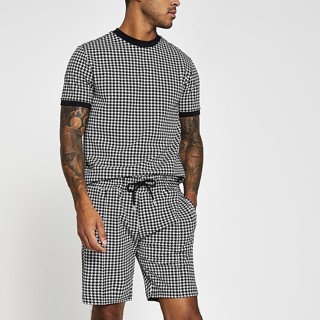 Maison Riviera black slim dogtooth shorts