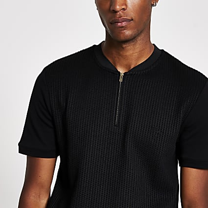 Maison Riviera black slim fit baseball shirt