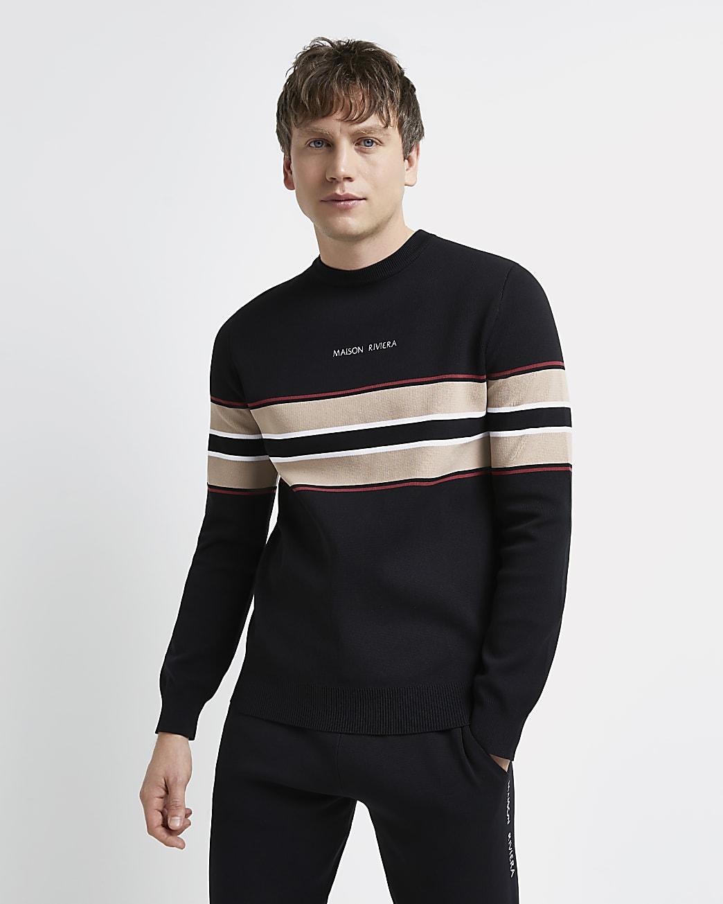 Maison Riviera black slim fit block jumper