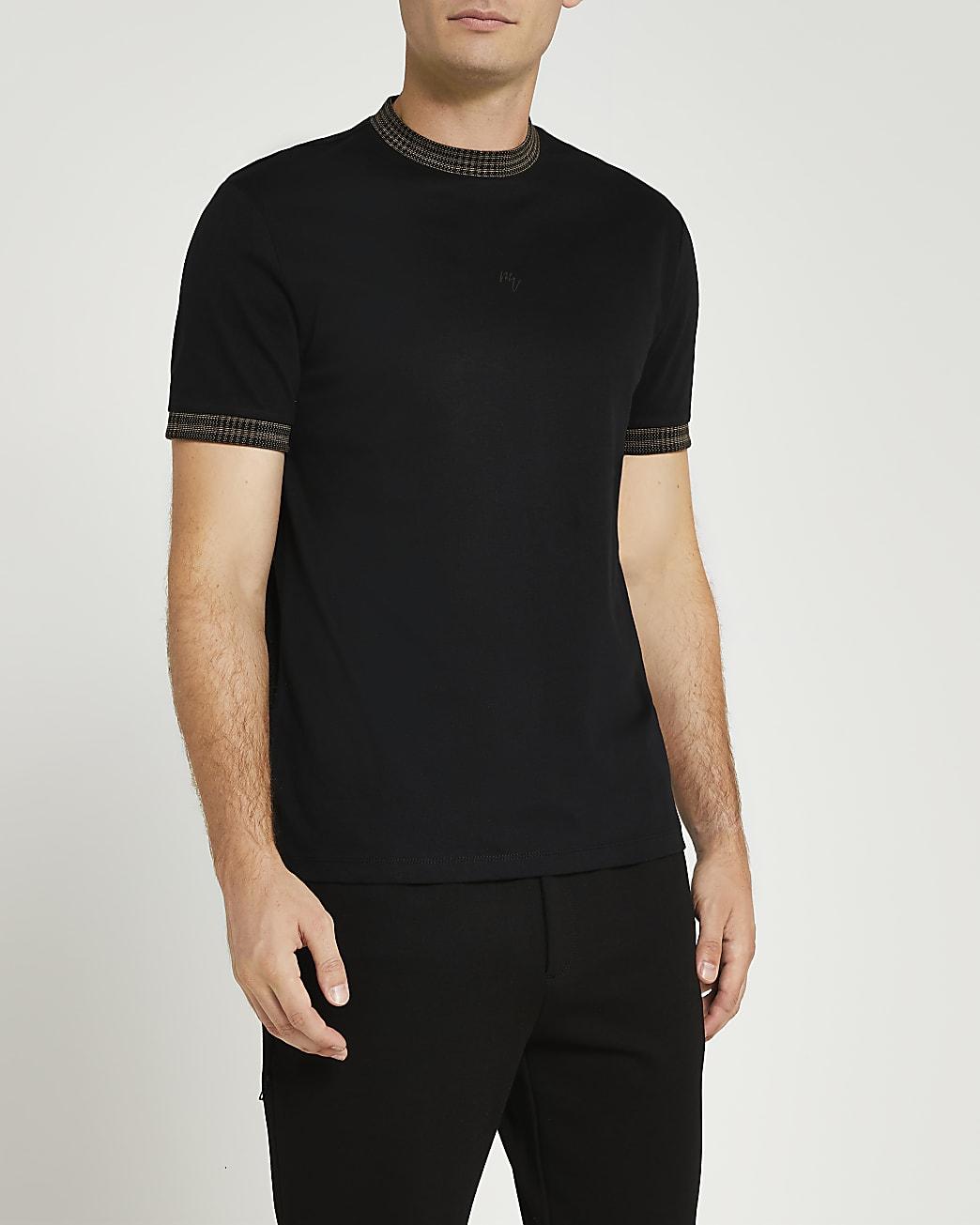 Maison Riviera black slim fit check t-shirt