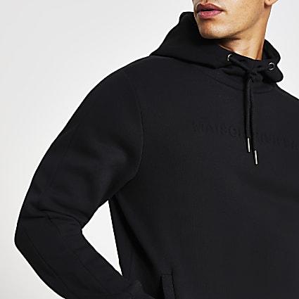 Maison Riviera black slim fit embossed hoodie
