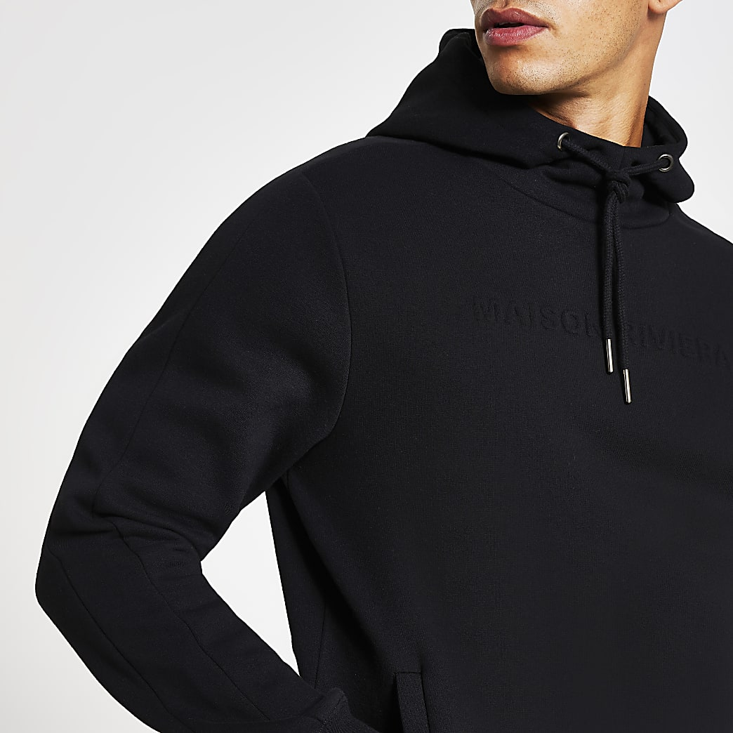 Maison Riviera black slim fit embossed hoodie