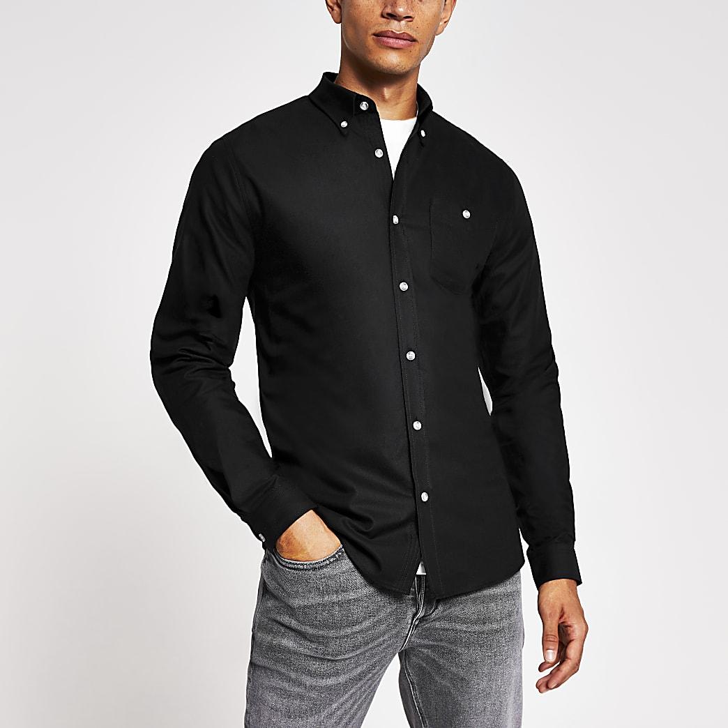 Maison Riviera black slim fit oxford shirt