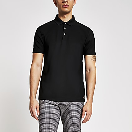 Maison Riviera black slim fit polo shirt