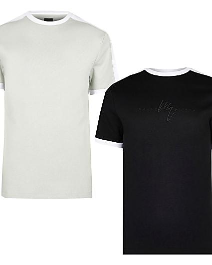 Maison Riviera black slim fit t-shirts 2 pack