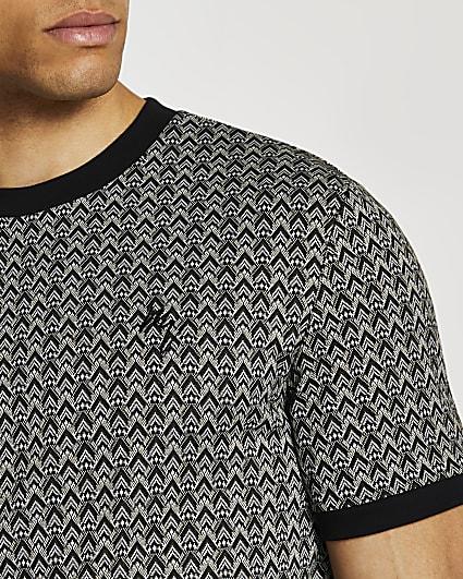 Maison Riviera black slim jacquard t-shirt
