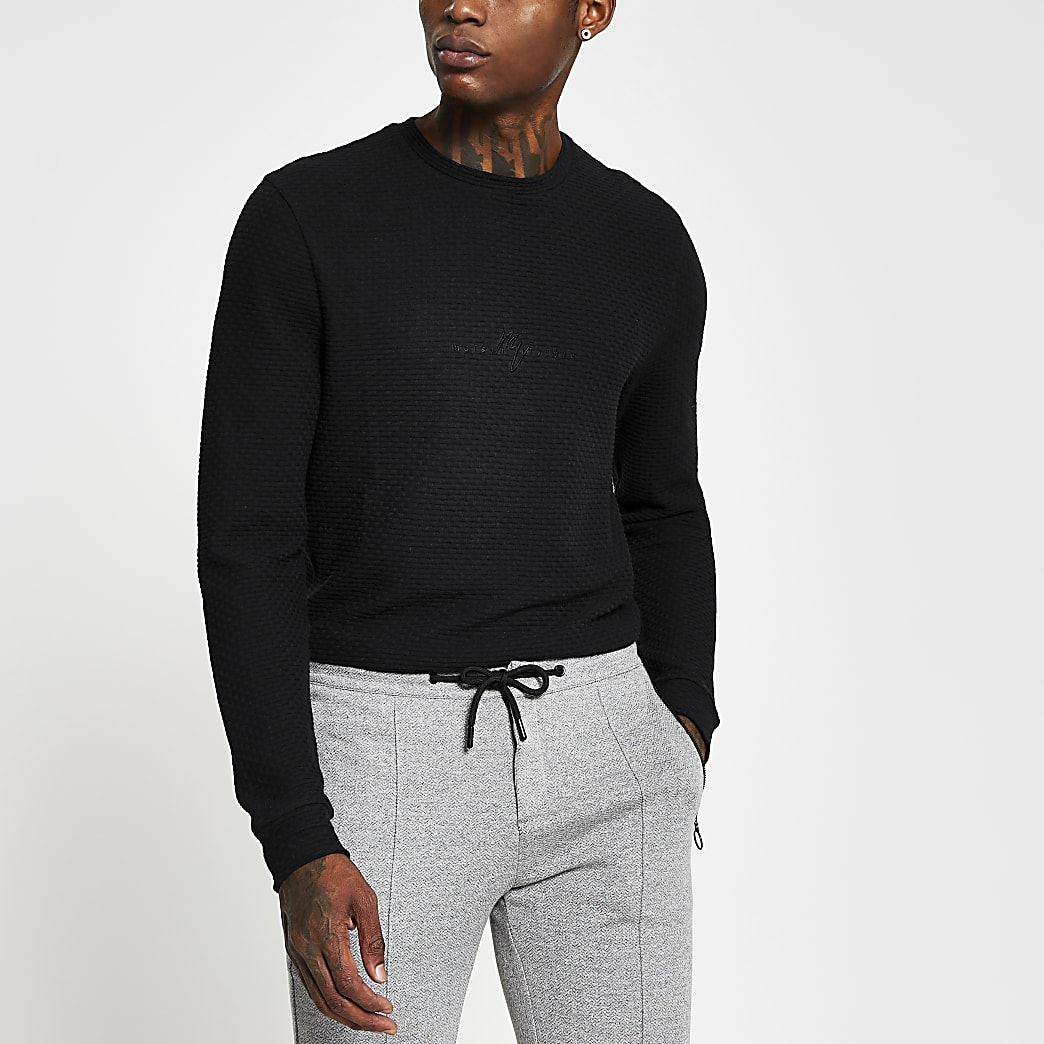Maison Riviera black slim long sleeve t-shirt