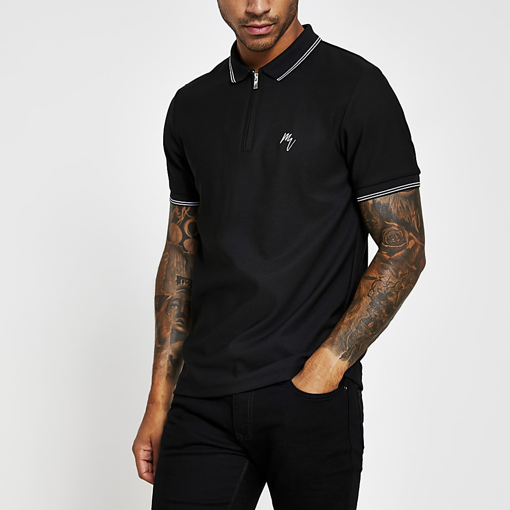 Maison Riviera black slim tipped collar polo