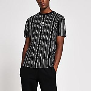 Maison Riviera – Schwarz gestreiftes Slim Fit T-Shirt