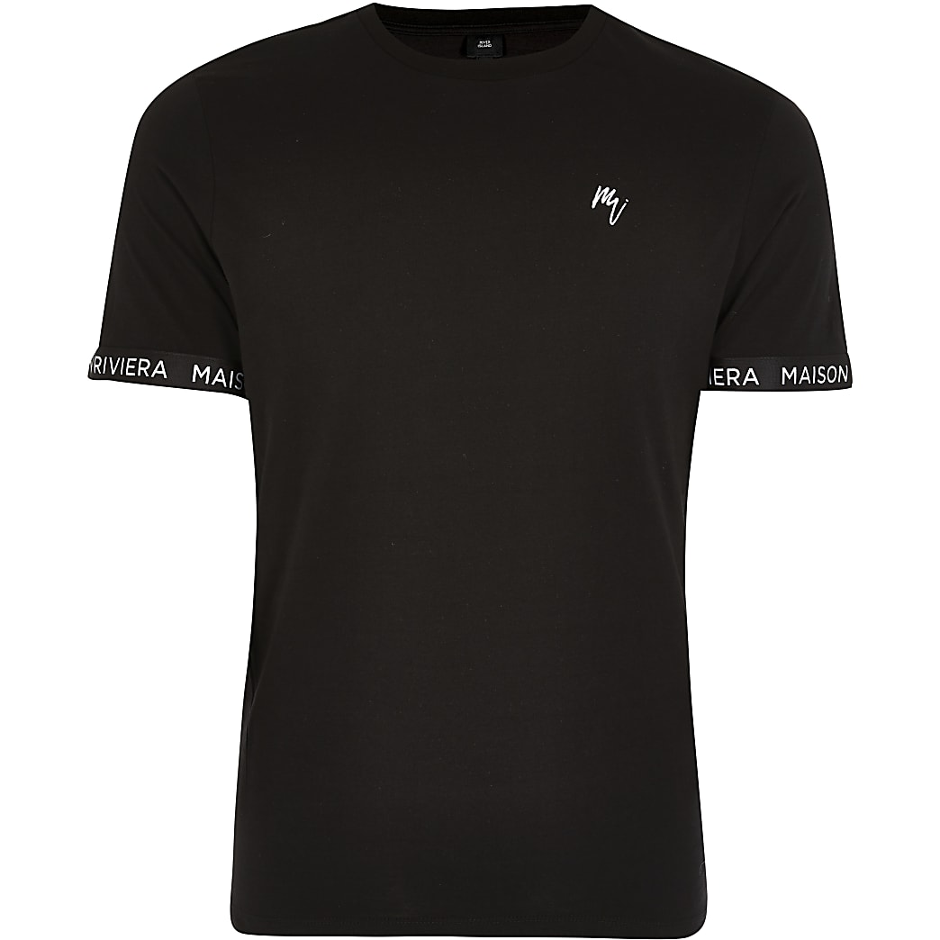 Maison Riviera black tape slim fit T-shirt