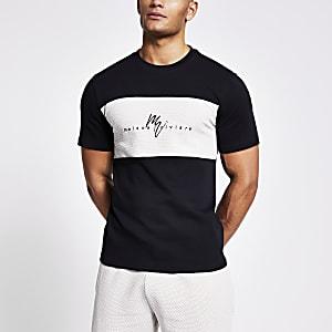 Maison Riviera– Schwarzes T-Shirt mit strukturierter Blockbahn