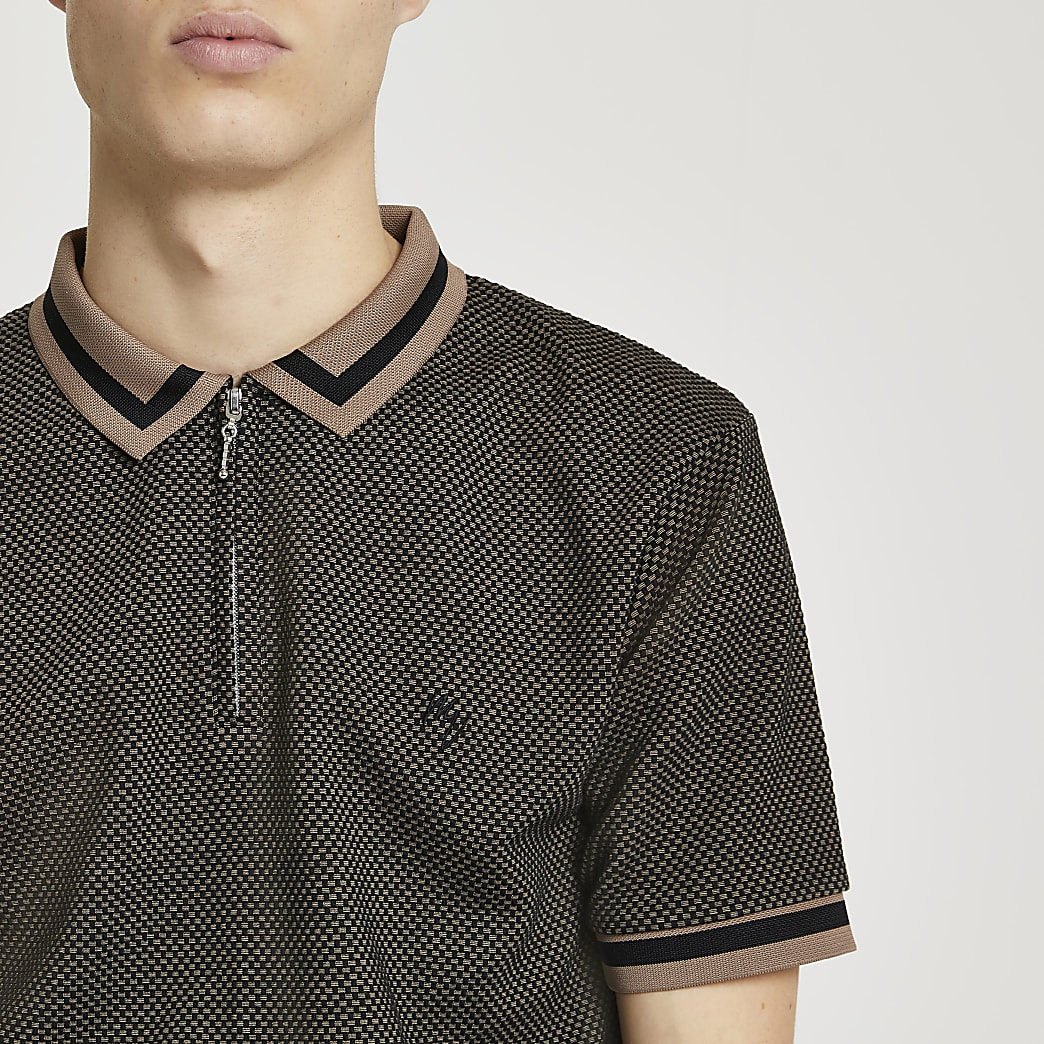 Maison Riviera black textured polo shirt
