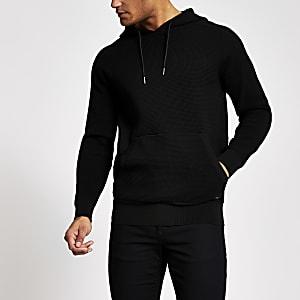Maison Riviera black waffle regular hoodie
