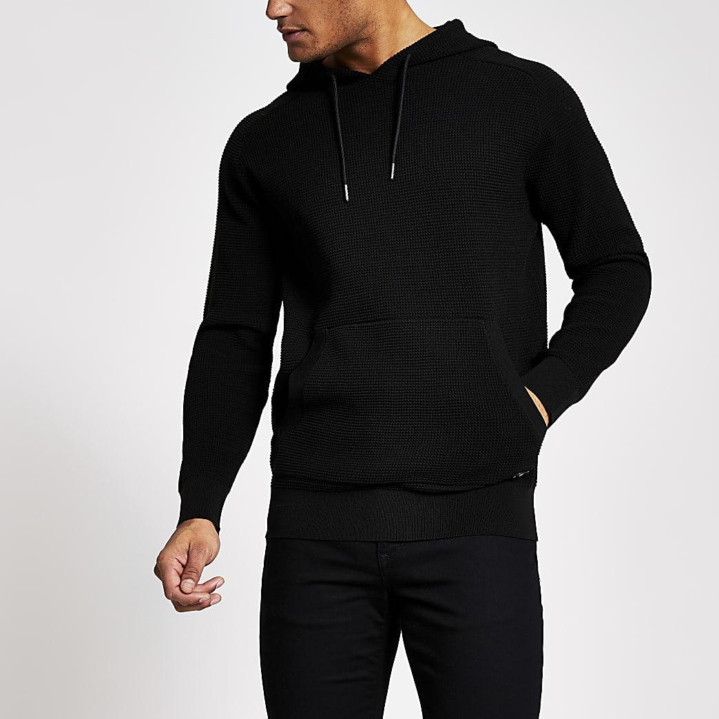 Maison Riviera - Zwarte regular-fit hoodie